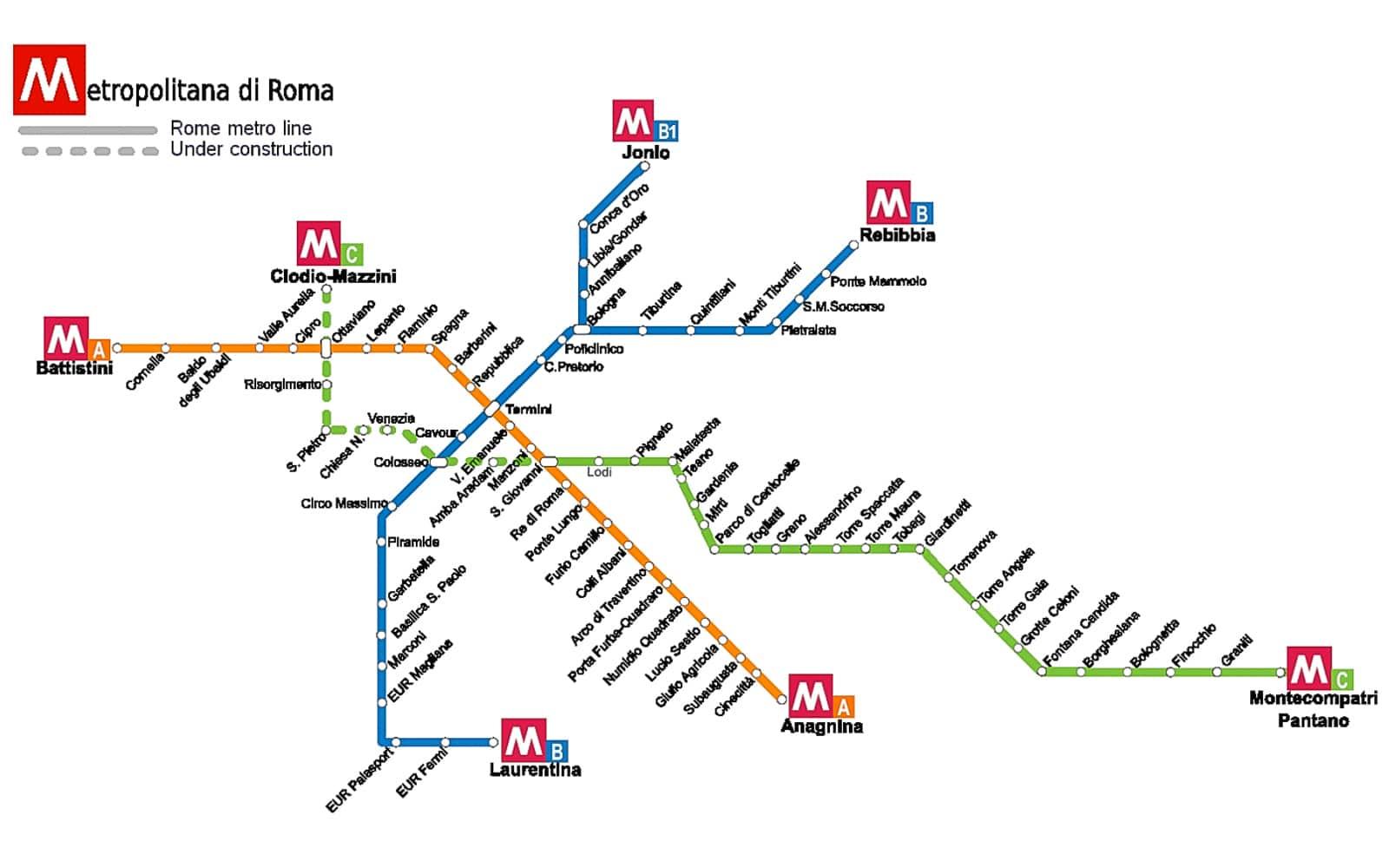 Cartina Autobus Roma.Metro Di Roma Mappa Orari Biglietti E Altre Info Visitareroma Com